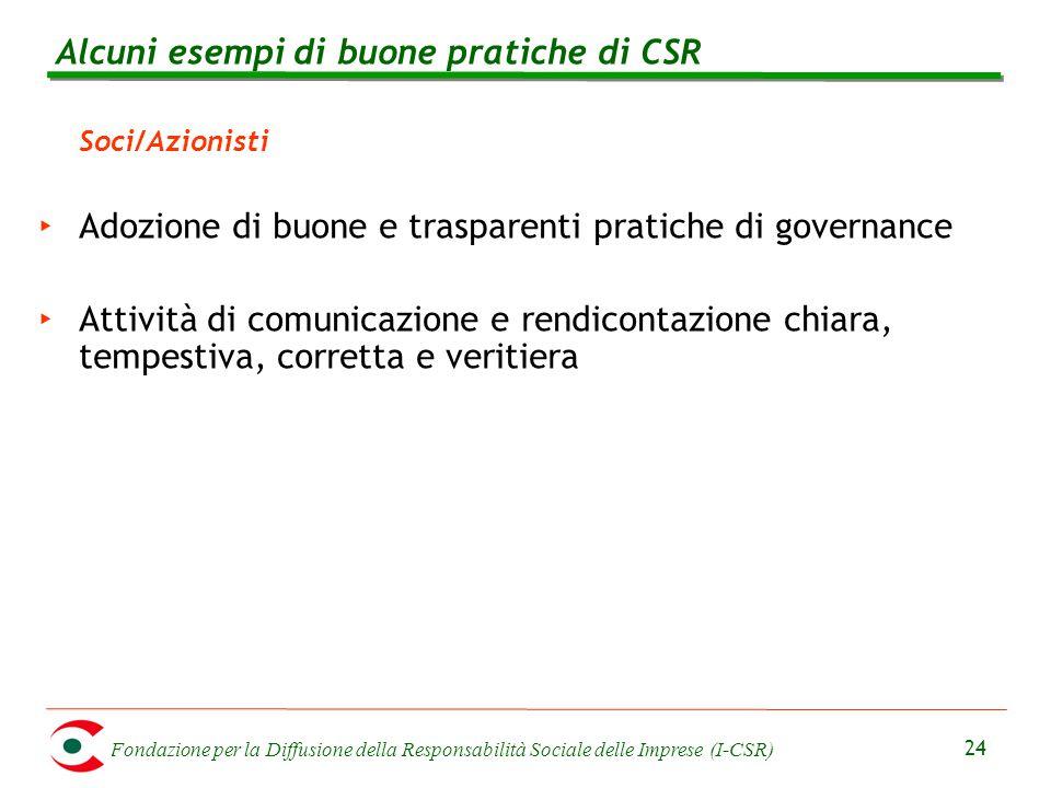 Fondazione per la Diffusione della Responsabilità Sociale delle Imprese (I-CSR) 24 Soci/Azionisti ‣ Adozione di buone e trasparenti pratiche di govern
