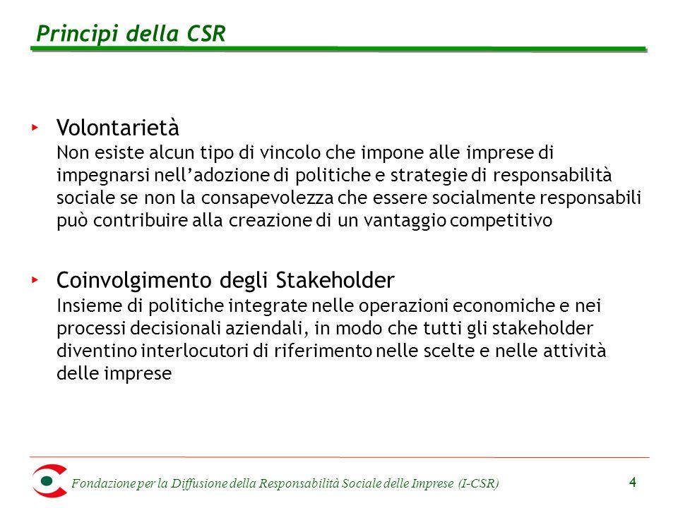 Fondazione per la Diffusione della Responsabilità Sociale delle Imprese (I-CSR) 4 Principi della CSR ‣ Volontarietà Non esiste alcun tipo di vincolo c