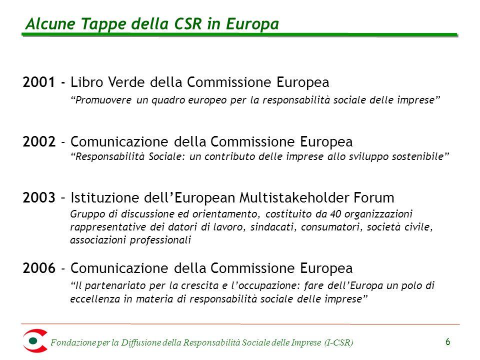 Fondazione per la Diffusione della Responsabilità Sociale delle Imprese (I-CSR) 6 Alcune Tappe della CSR in Europa 2001 - Libro Verde della Commission