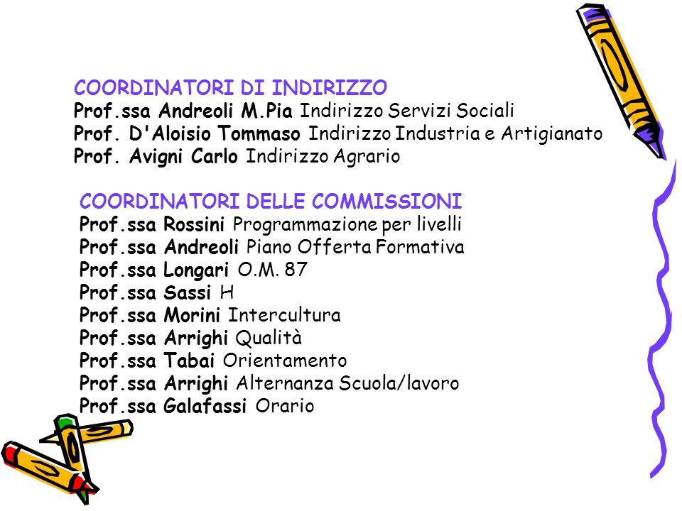 COORDINATORI DI INDIRIZZO Prof.ssa Andreoli M.Pia Indirizzo Servizi Sociali Prof.