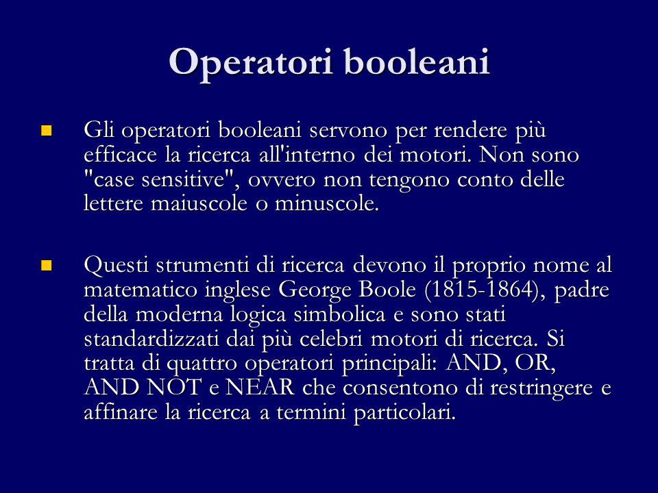 Operatori booleani Gli operatori booleani servono per rendere più efficace la ricerca all interno dei motori.