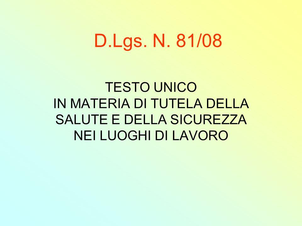 D.Lgs.N. 81/08 Art. 17.