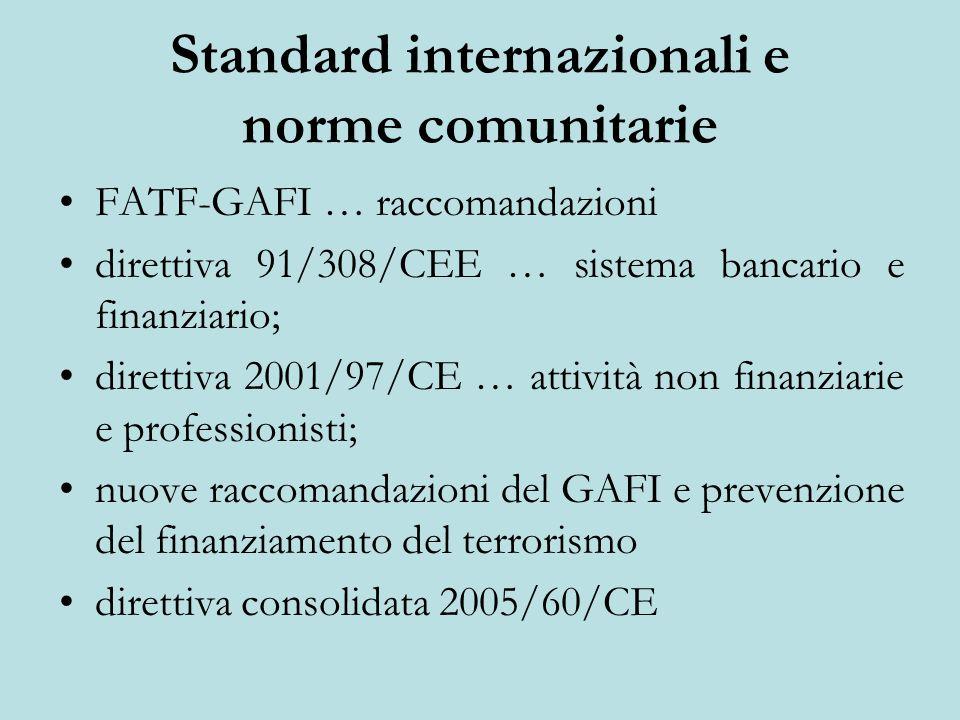 Standard internazionali e norme comunitarie FATF-GAFI … raccomandazioni direttiva 91/308/CEE … sistema bancario e finanziario; direttiva 2001/97/CE … attività non finanziarie e professionisti; nuove raccomandazioni del GAFI e prevenzione del finanziamento del terrorismo direttiva consolidata 2005/60/CE