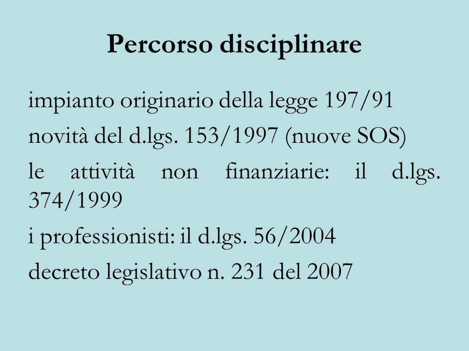 Percorso disciplinare impianto originario della legge 197/91 novità del d.lgs.