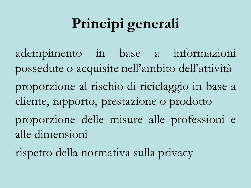 Principi generali adempimento in base a informazioni possedute o acquisite nell'ambito dell'attività proporzione al rischio di riciclaggio in base a cliente, rapporto, prestazione o prodotto proporzione delle misure alle professioni e alle dimensioni rispetto della normativa sulla privacy