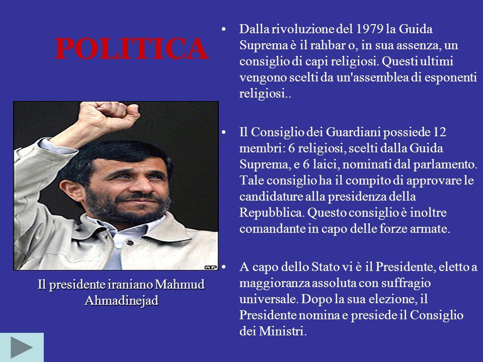 POLITICA Dalla rivoluzione del 1979 la Guida Suprema è il rahbar o, in sua assenza, un consiglio di capi religiosi.