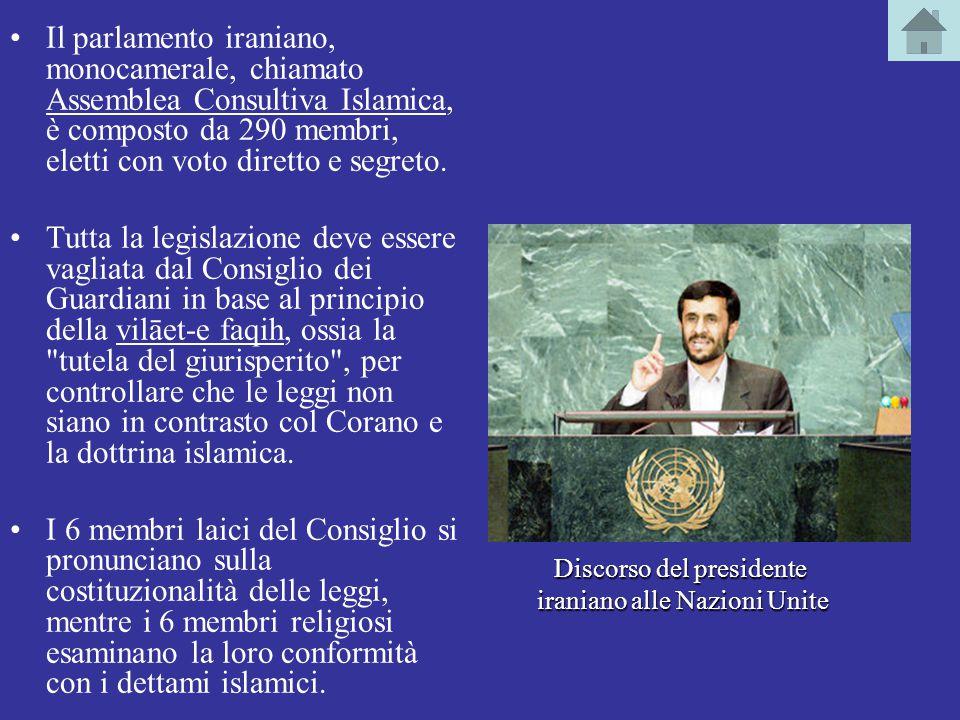 Il parlamento iraniano, monocamerale, chiamato Assemblea Consultiva Islamica, è composto da 290 membri, eletti con voto diretto e segreto.