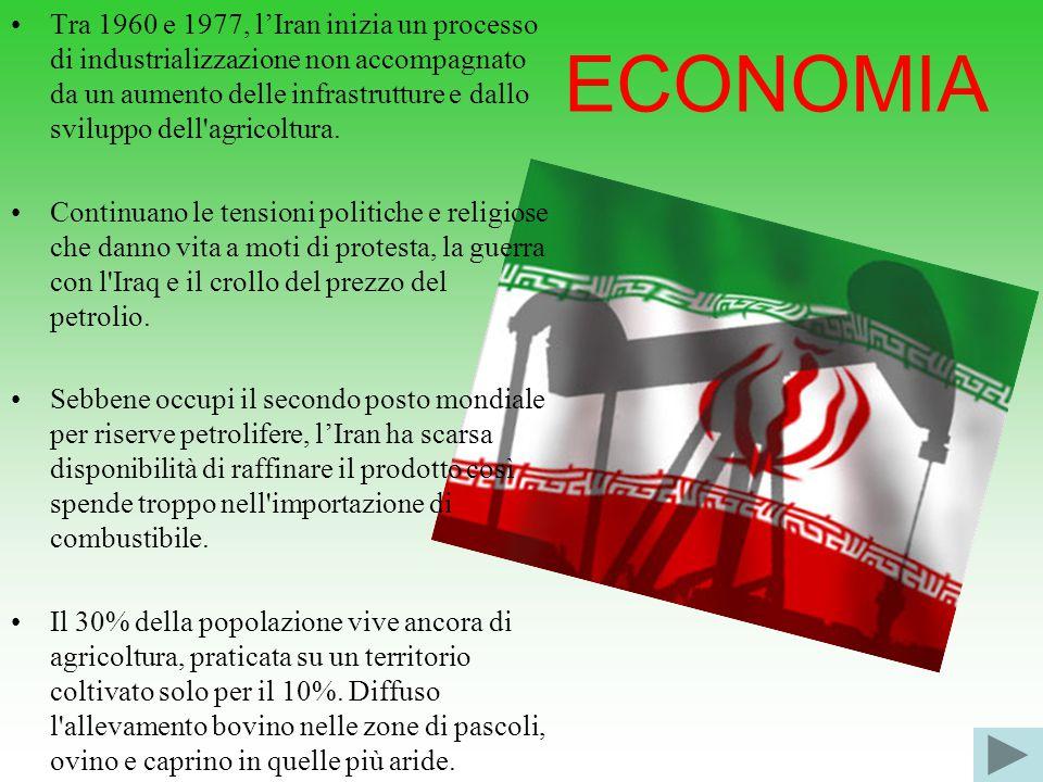 ECONOMIA Tra 1960 e 1977, l'Iran inizia un processo di industrializzazione non accompagnato da un aumento delle infrastrutture e dallo sviluppo dell agricoltura.