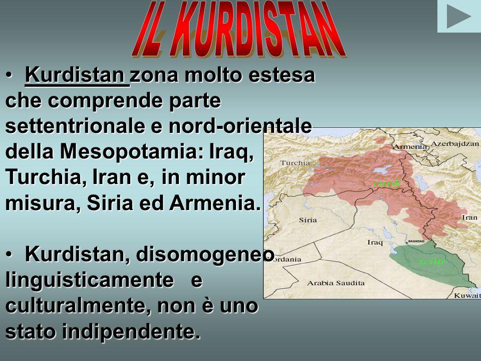 Kurdistan zona molto estesa che comprende parte settentrionale e nord-orientale della Mesopotamia: Iraq, Turchia, Iran e, in minor misura, Siria ed Armenia.