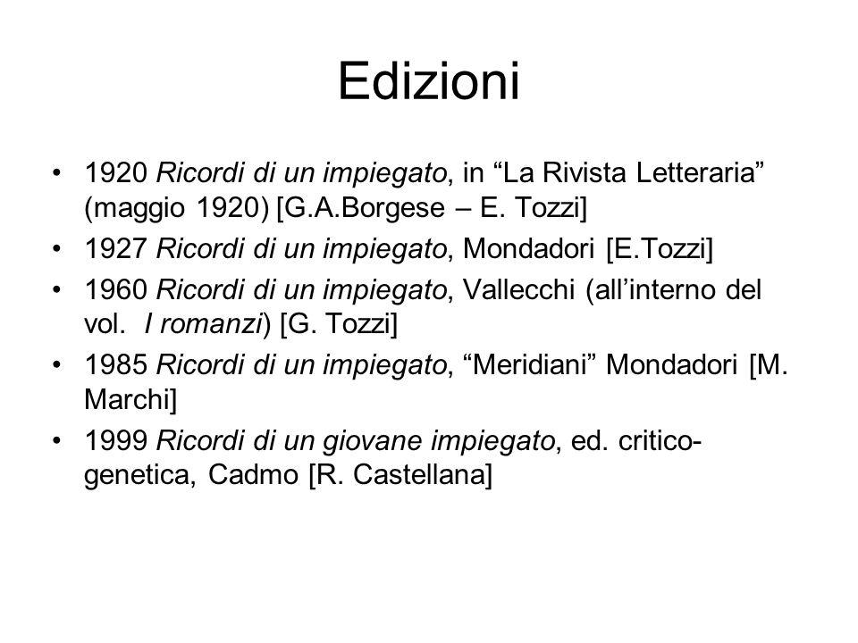 """Edizioni 1920 Ricordi di un impiegato, in """"La Rivista Letteraria"""" (maggio 1920) [G.A.Borgese – E. Tozzi] 1927 Ricordi di un impiegato, Mondadori [E.To"""