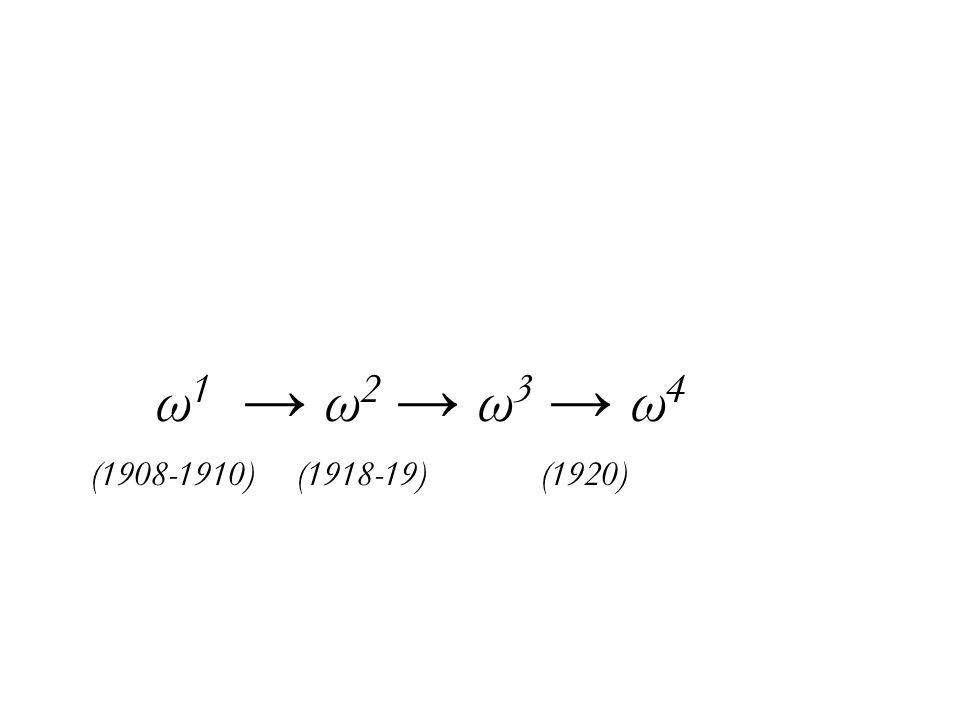 ω 1 → ω 2 → ω 3 → ω 4 (1908-1910) (1918-19) (1920)