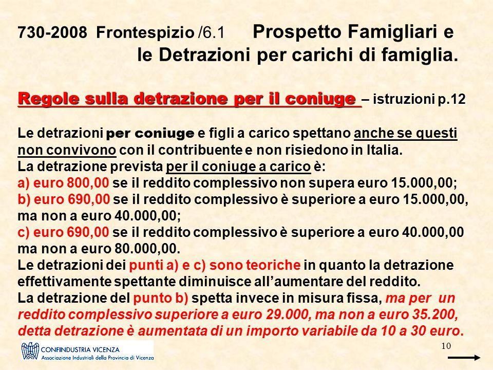 10 Regole sulla detrazione per il coniuge – istruzioni p.12 730-2008 Frontespizio /6.1 Prospetto Famigliari e le Detrazioni per carichi di famiglia. R