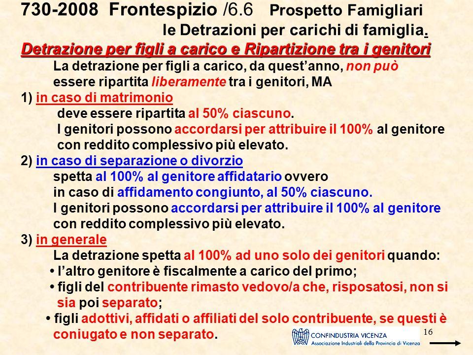 16 Detrazione per figli a carico e Ripartizione tra i genitori 730-2008 Frontespizio /6.6 Prospetto Famigliari le Detrazioni per carichi di famiglia.