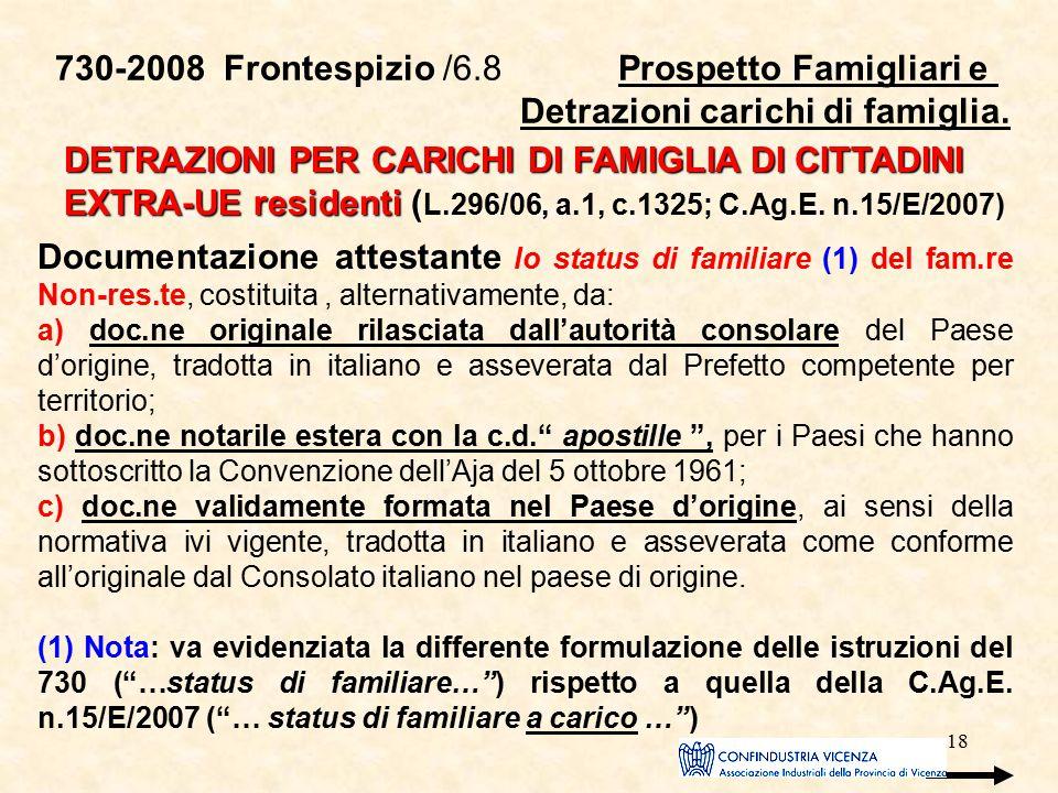 18 730-2008 Frontespizio /6.8 Prospetto Famigliari e Detrazioni carichi di famiglia. DETRAZIONI PER CARICHI DI FAMIGLIA DI CITTADINI EXTRA-UE resident