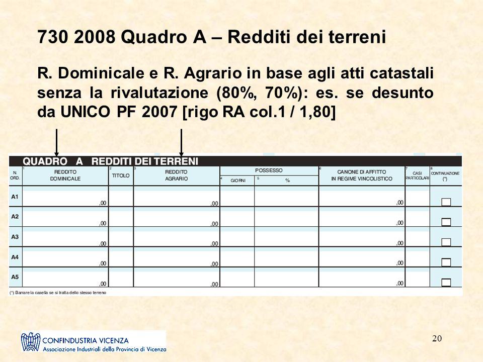 20 730 2008 Quadro A – Redditi dei terreni R. Dominicale e R. Agrario in base agli atti catastali senza la rivalutazione (80%, 70%): es. se desunto da