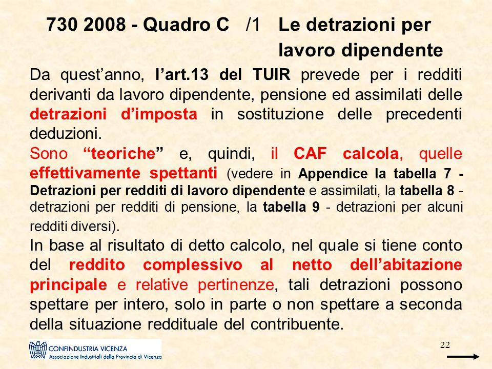 22 730 2008 - Quadro C /1 Le detrazioni per lavoro dipendente Da quest'anno, l'art.13 del TUIR prevede per i redditi derivanti da lavoro dipendente, p