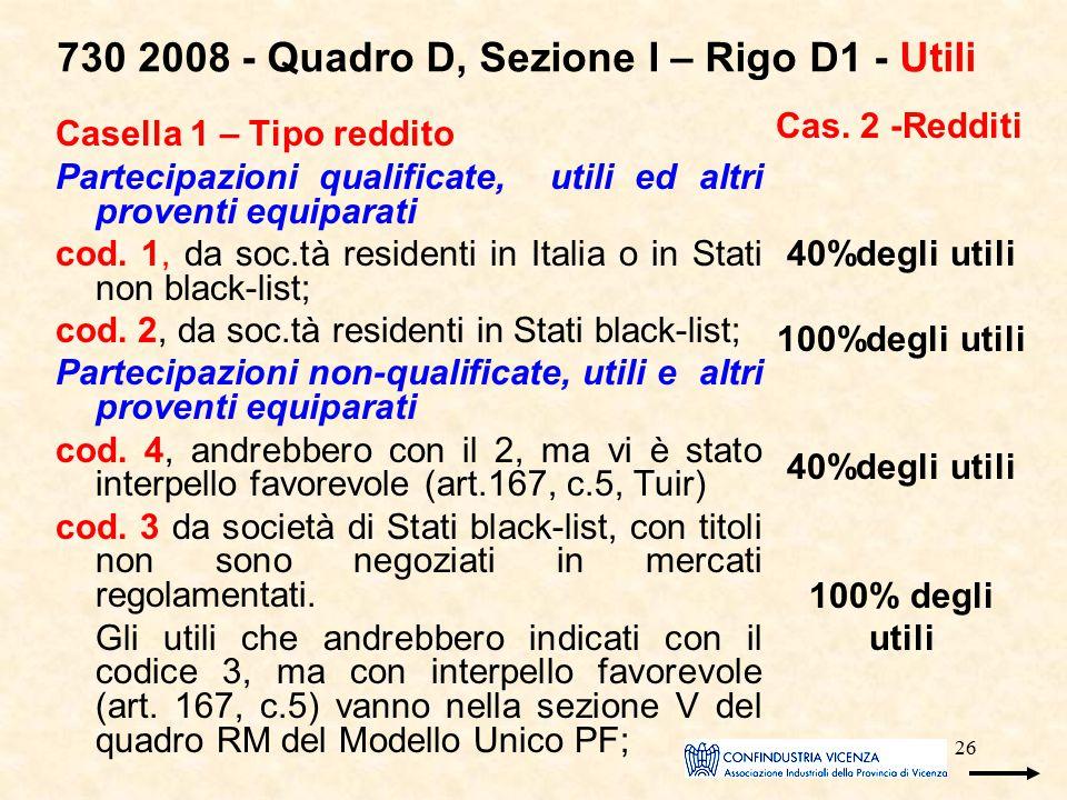 26 730 2008 - Quadro D, Sezione I – Rigo D1 - Utili Casella 1 – Tipo reddito Partecipazioni qualificate, utili ed altri proventi equiparati cod. 1, da