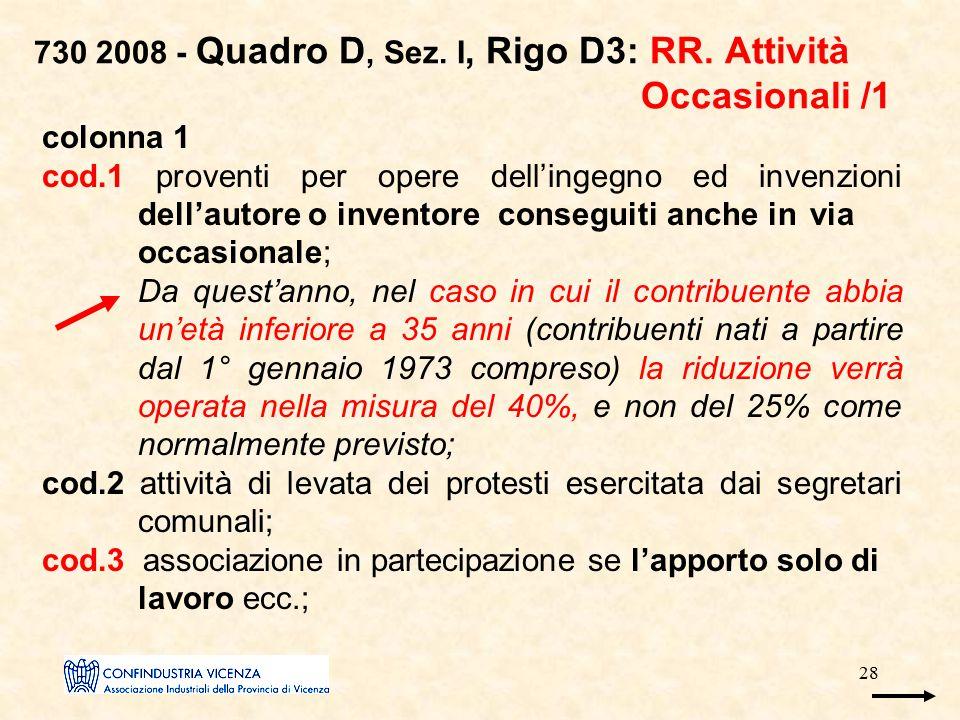 28 730 2008 - Quadro D, Sez. I, Rigo D3: RR. Attività Occasionali /1 colonna 1 cod.1 proventi per opere dell'ingegno ed invenzioni dell'autore o inven