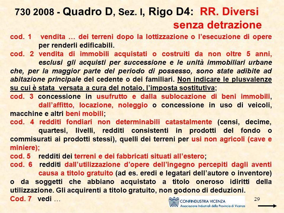 29 730 2008 - Quadro D, Sez. I, Rigo D4: RR. Diversi senza detrazione cod. 1 vendita … dei terreni dopo la lottizzazione o l'esecuzione di opere per r