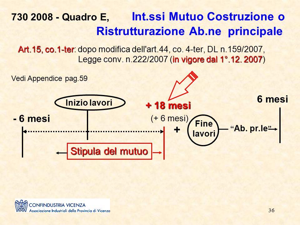 36 730 2008 - Quadro E, Int.ssi Mutuo Costruzione o Ristrutturazione Ab.ne principale Art.15, co.1-ter in vigore dal 1°.12. 2007 Art.15, co.1-ter: dop