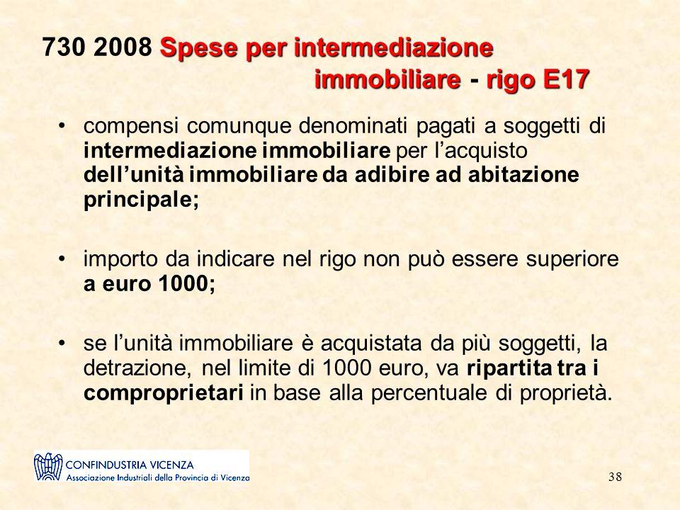 38 Spese per intermediazione immobiliarerigo E17 730 2008 Spese per intermediazione immobiliare - rigo E17 compensi comunque denominati pagati a sogge