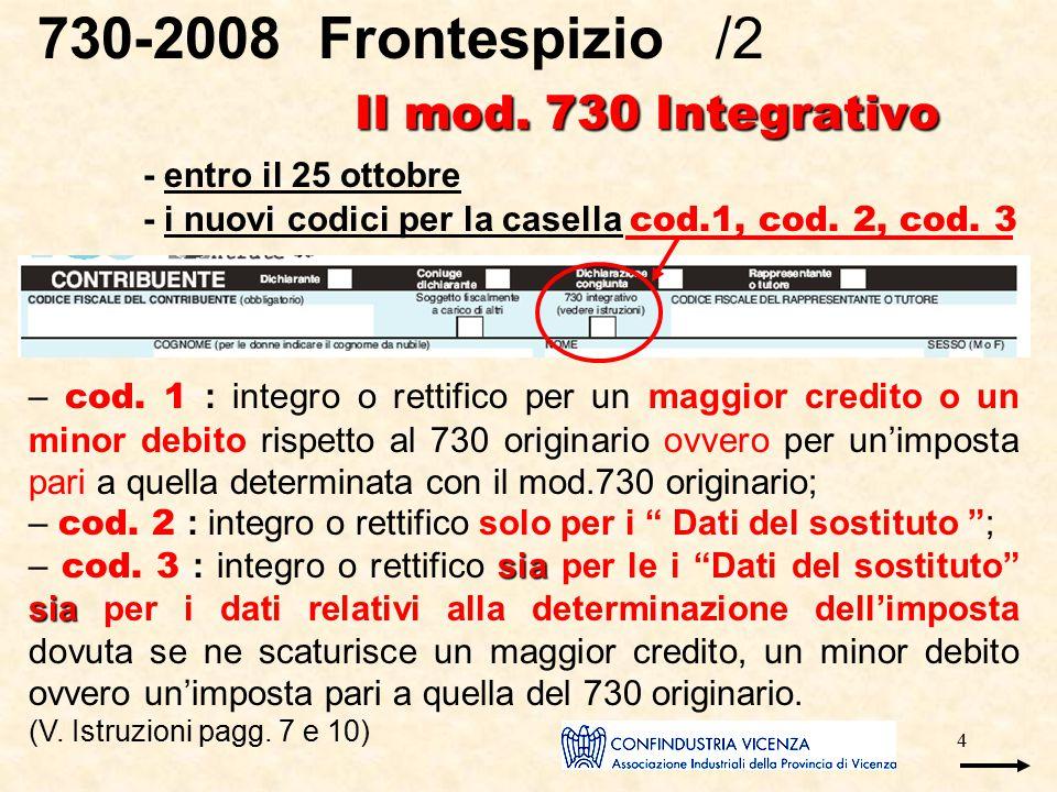 4 Il mod. 730 Integrativo 730-2008 Frontespizio /2 Il mod. 730 Integrativo - entro il 25 ottobre - i nuovi codici per la casella cod.1, cod. 2, cod. 3
