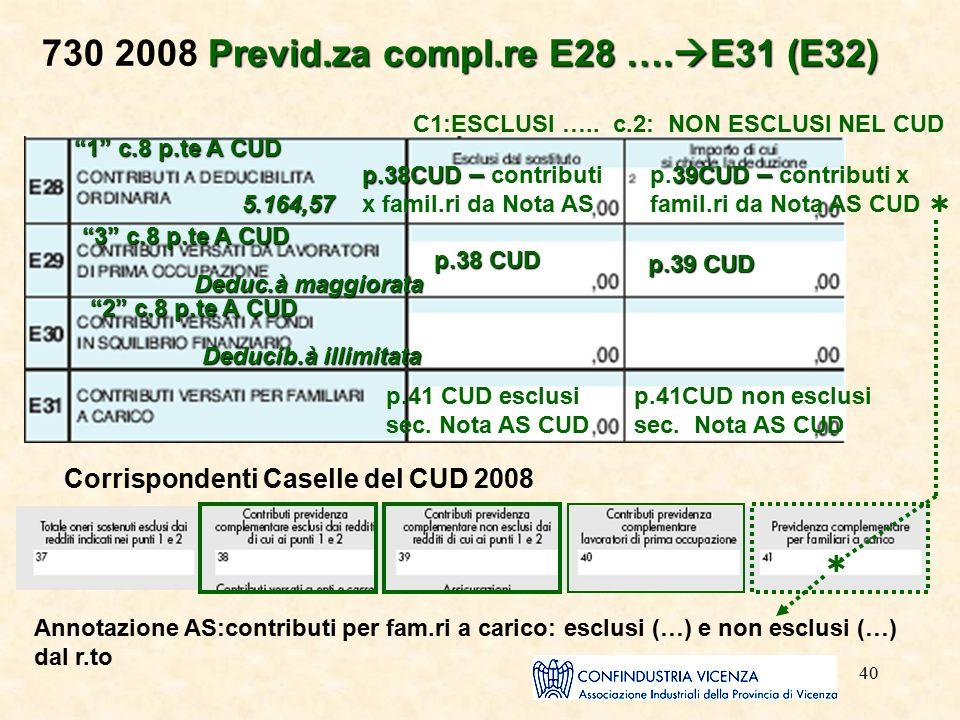 "40 Previd.za compl.re E28 ….  E31 (E32) 730 2008 Previd.za compl.re E28 ….  E31 (E32) C1:ESCLUSI ….. c.2: NON ESCLUSI NEL CUD ""1"" c.8 p.te A CUD 5.1"