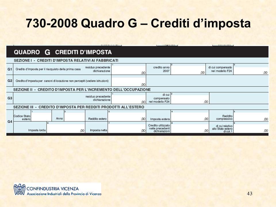 43 730-2008 Quadro G – Crediti d'imposta
