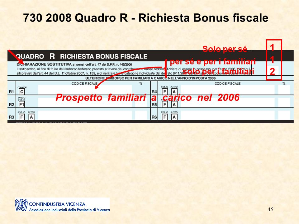 45 730 2008 Quadro R - Richiesta Bonus fiscale 112112 Solo per sé per sé e per i familiari solo per i familiari Prospetto familiari a carico nel 2006