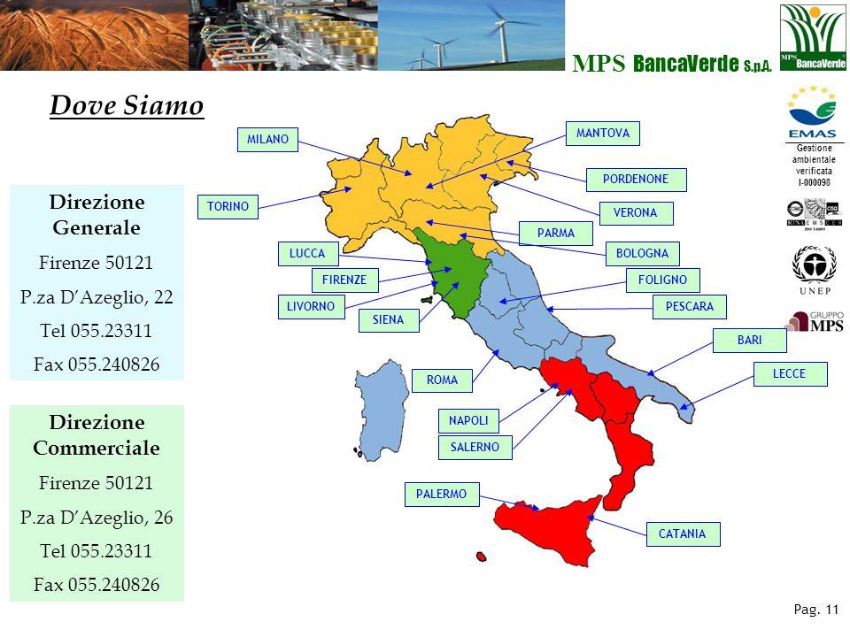 Gestione ambientale verificata I-000098 MPS BancaVerde S.p.A. Pag. 11 Direzione Generale Firenze 50121 P.za D'Azeglio, 22 Tel 055.23311 Fax 055.240826