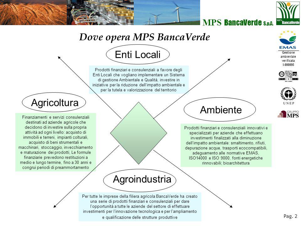 Gestione ambientale verificata I-000098 MPS BancaVerde S.p.A. Pag. 2 Dove opera MPS BancaVerde Agricoltura Finanziamenti e servizi consulenziali desti