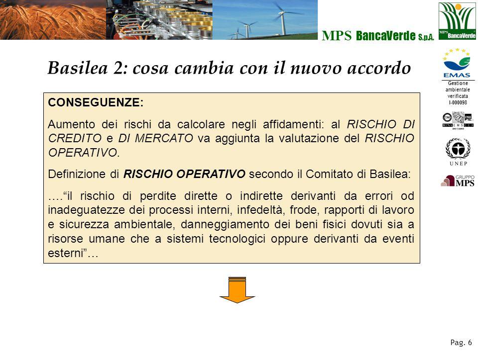 Gestione ambientale verificata I-000098 MPS BancaVerde S.p.A. Pag. 6 Basilea 2: cosa cambia con il nuovo accordo CONSEGUENZE: Aumento dei rischi da ca