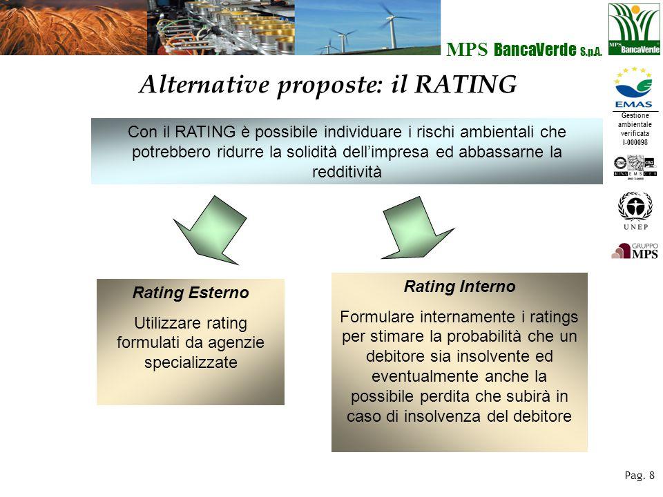 Gestione ambientale verificata I-000098 MPS BancaVerde S.p.A. Pag. 8 Alternative proposte: il RATING Con il RATING è possibile individuare i rischi am