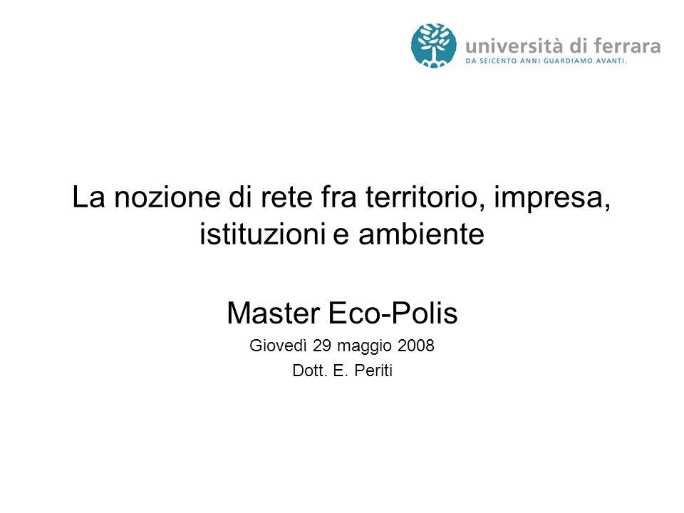 La nozione di rete fra territorio, impresa, istituzioni e ambiente Master Eco-Polis Giovedì 29 maggio 2008 Dott.