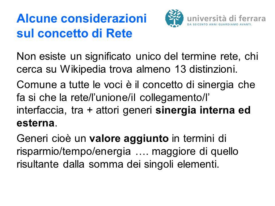 Alcune considerazioni sul concetto di Rete Non esiste un significato unico del termine rete, chi cerca su Wikipedia trova almeno 13 distinzioni.
