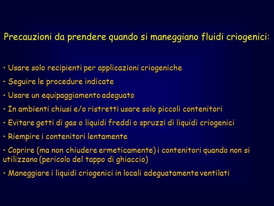 Precauzioni da prendere quando si maneggiano fluidi criogenici: Usare solo recipienti per applicazioni criogeniche Usare solo recipienti per applicazi