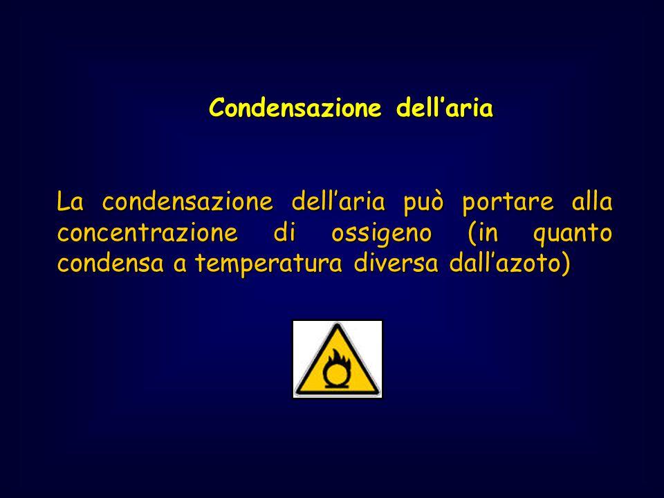 Condensazione dell'aria Condensazione dell'aria La condensazione dell'aria può portare alla concentrazione di ossigeno (in quanto condensa a temperatu