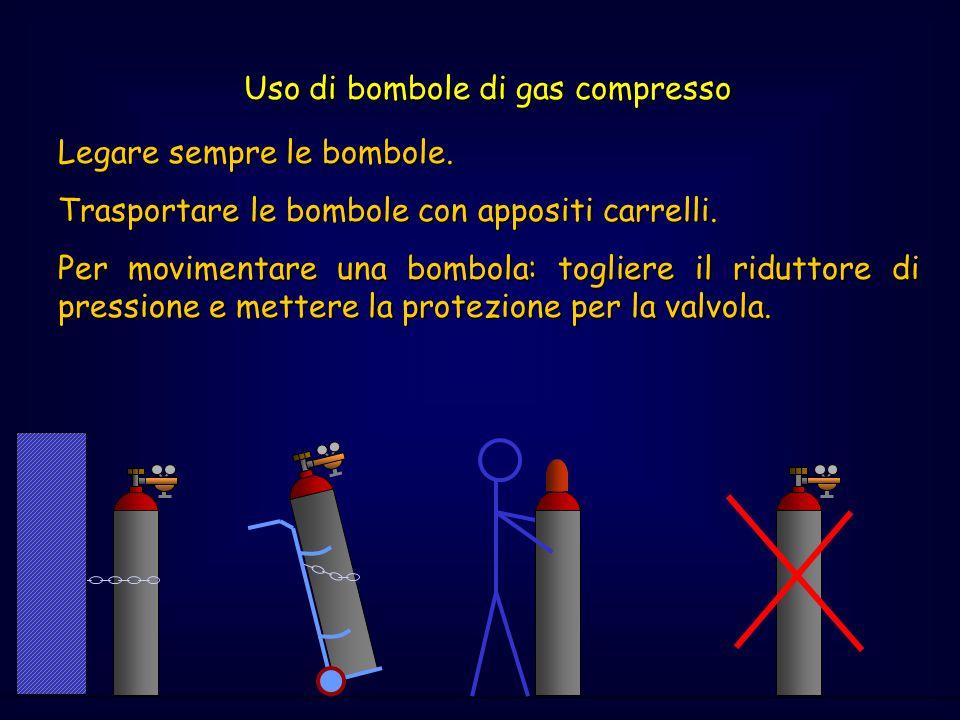 Uso di bombole di gas compresso Legare sempre le bombole. Trasportare le bombole con appositi carrelli. Per movimentare una bombola: togliere il ridut