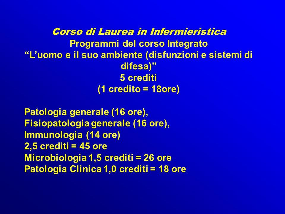 """Corso di Laurea in Infermieristica Programmi del corso Integrato """"L'uomo e il suo ambiente (disfunzioni e sistemi di difesa)"""" 5 crediti (1 credito = 1"""