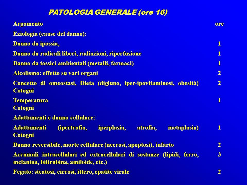 PATOLOGIA GENERALE (ore 16) Argomentoore Eziologia (cause del danno): Danno da ipossia,1 Danno da radicali liberi, radiazioni, riperfusione1 Danno da