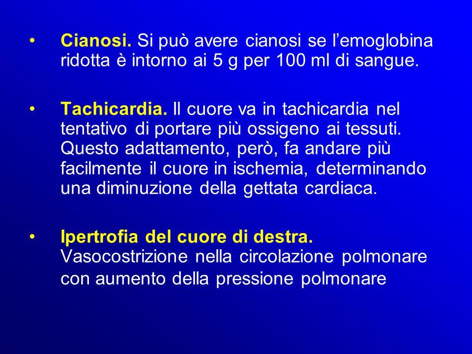 Cianosi. Si può avere cianosi se l'emoglobina ridotta è intorno ai 5 g per 100 ml di sangue. Tachicardia. Il cuore va in tachicardia nel tentativo di