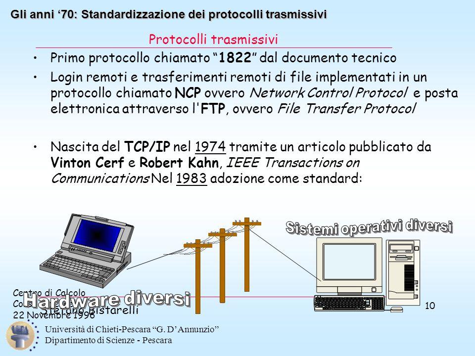 """Centro di Calcolo Corso Internet 22 Novembre 1996 Stefano Bistarelli Università di Chieti-Pescara """"G. D'Annunzio"""" Dipartimento di Scienze - Pescara 10"""