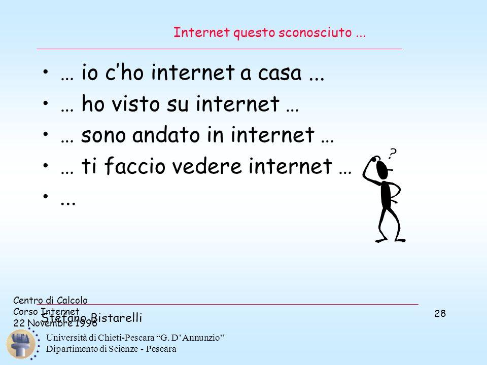 """Centro di Calcolo Corso Internet 22 Novembre 1996 Stefano Bistarelli Università di Chieti-Pescara """"G. D'Annunzio"""" Dipartimento di Scienze - Pescara 28"""