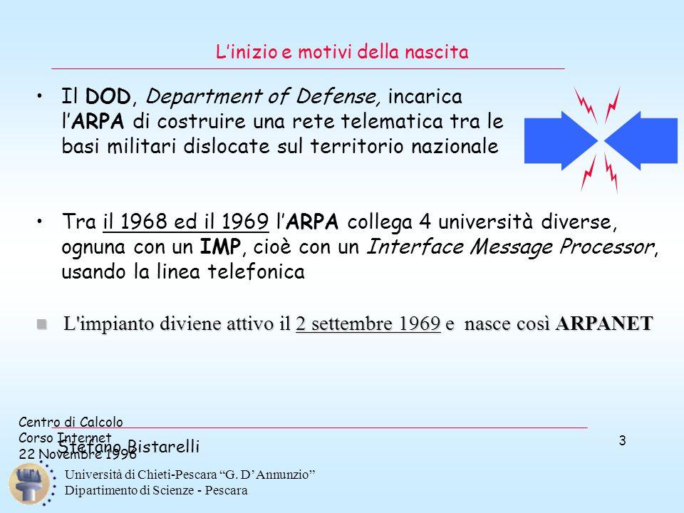 """Centro di Calcolo Corso Internet 22 Novembre 1996 Stefano Bistarelli Università di Chieti-Pescara """"G. D'Annunzio"""" Dipartimento di Scienze - Pescara 3"""