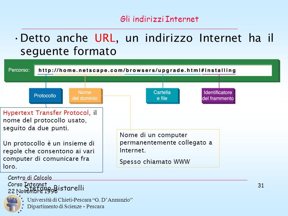 """Centro di Calcolo Corso Internet 22 Novembre 1996 Stefano Bistarelli Università di Chieti-Pescara """"G. D'Annunzio"""" Dipartimento di Scienze - Pescara 31"""