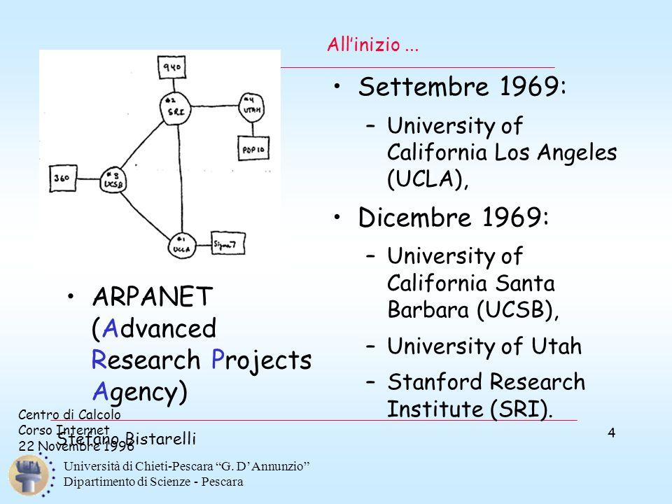 """Centro di Calcolo Corso Internet 22 Novembre 1996 Stefano Bistarelli Università di Chieti-Pescara """"G. D'Annunzio"""" Dipartimento di Scienze - Pescara 4"""