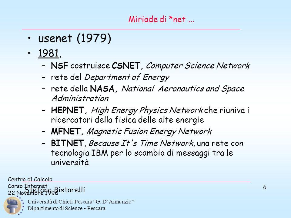 """Centro di Calcolo Corso Internet 22 Novembre 1996 Stefano Bistarelli Università di Chieti-Pescara """"G. D'Annunzio"""" Dipartimento di Scienze - Pescara 6"""