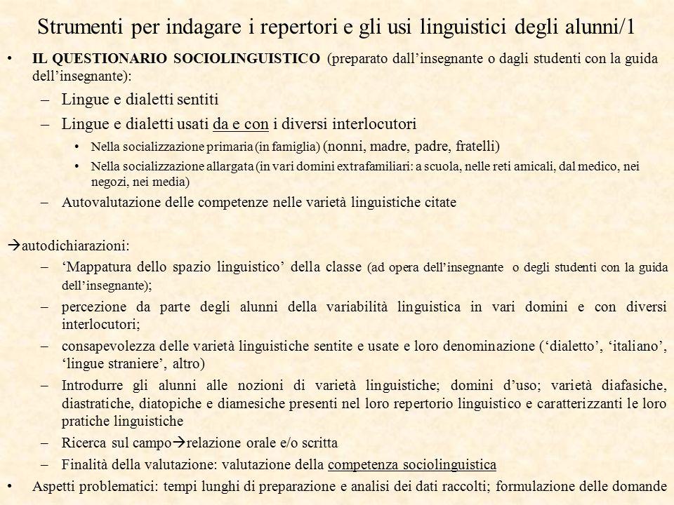 Strumenti per indagare i repertori e gli usi linguistici degli alunni/1 IL QUESTIONARIO SOCIOLINGUISTICO (preparato dall'insegnante o dagli studenti c