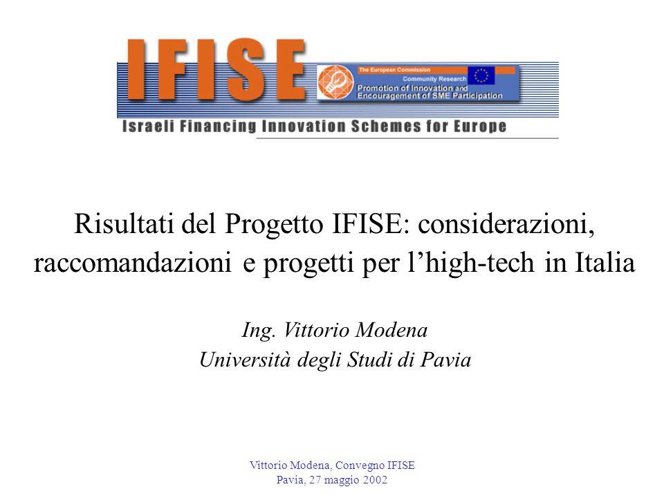Vittorio Modena, Convegno IFISE Pavia, 27 maggio 2002 Risultati del Progetto IFISE: considerazioni, raccomandazioni e progetti per l'high-tech in Italia Ing.
