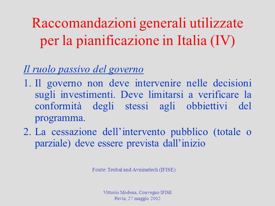 Vittorio Modena, Convegno IFISE Pavia, 27 maggio 2002 Raccomandazioni generali utilizzate per la pianificazione in Italia (IV) Il ruolo passivo del governo 1.Il governo non deve intervenire nelle decisioni sugli investimenti.
